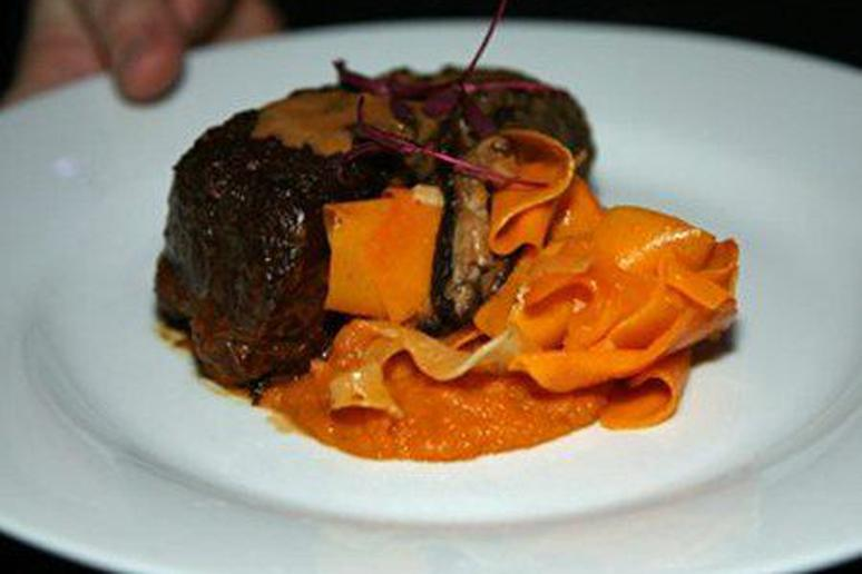 Coconut Braised Beef Short Rib with Sweet Potato and Butternut Squash Kimchi