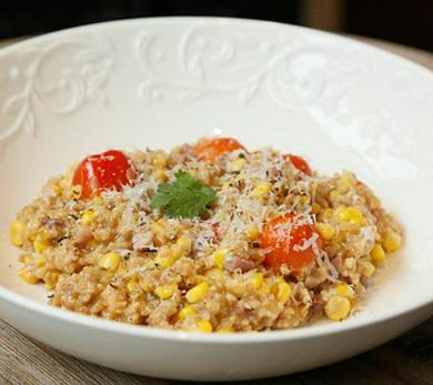 Steel-Cut Oatmeal with Sweet Corn, Tomato, and Pancetta