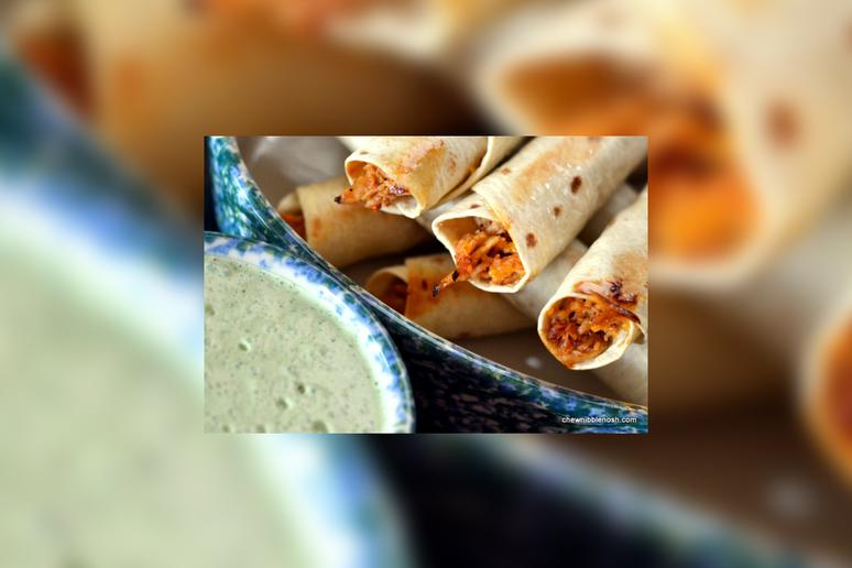 Baked Honey Lime Taquitos With Cilantro Lime Cream