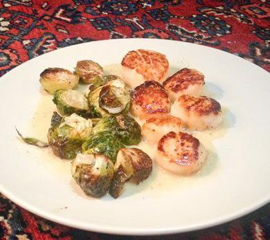 Scallops & Brussels Sprouts in Mustard IPA Cream Sauce