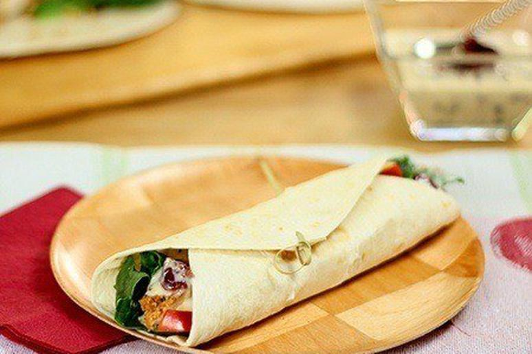 Chicken Wrap with Apples and Dried Cranberries