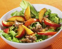 Grilled Chicken Salad with Spiced Pecans, Gorgonzola, and Peaches
