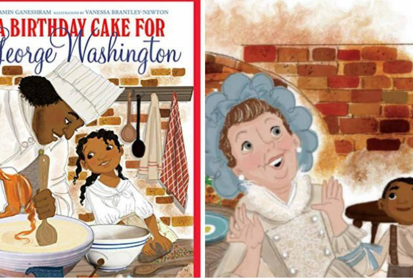 The controversial book features slaves happily baking a cake for our first president.