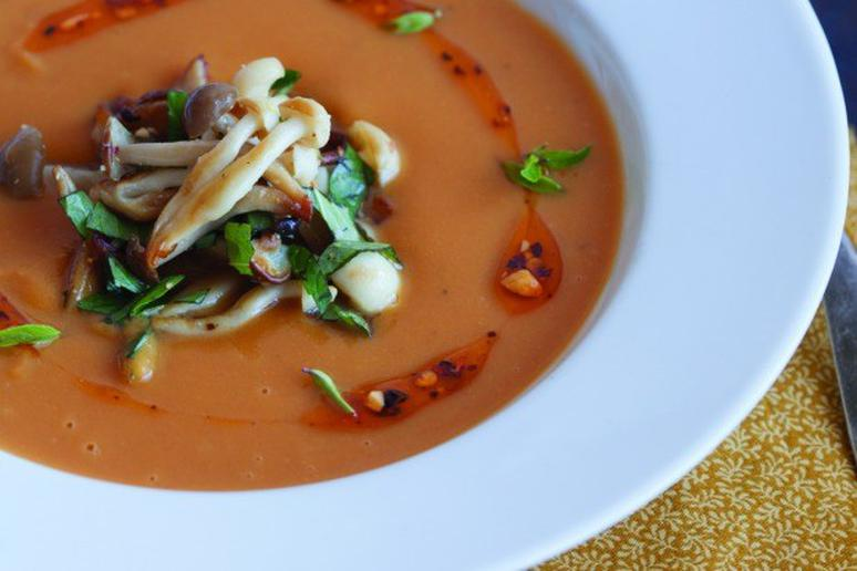 Sweet-Potato Soup with Lime Leaves, Beech Mushrooms, Basil, and Peanuts