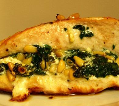 Chicken Breast Stuffed with Spinach, Feta, and Pine Nuts