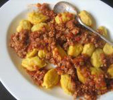 Winter Squash Gnocchi with Meat Sauce