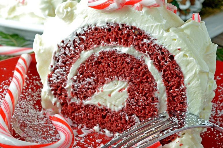 Red Velvet Cake Roll With Chocolate and Peppermint Butter Cream Frosting
