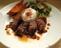 Grilled Hanger Steaks with Roasted Potates and Creme Fraiche