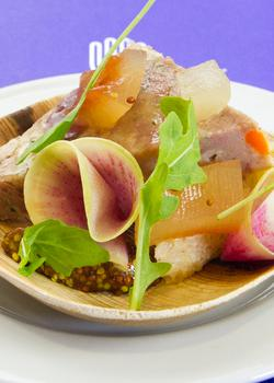 Pork–Duck Terrine with Pickled Watermelon Rind, Whole-Grain Mustard, and Arugula created by Sacha Levine of Octotillo