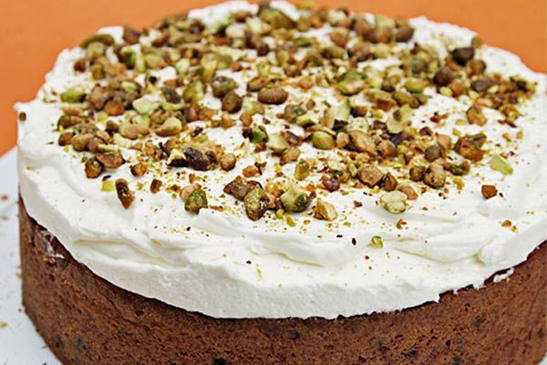 Carrot Cake with Cardamom, Currants, and Ginger-Crème Fraîche Chantilly