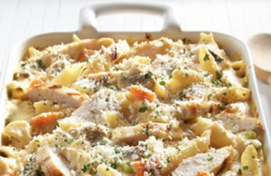 Grilled Chicken Cheddar Casserole with Mushrooms