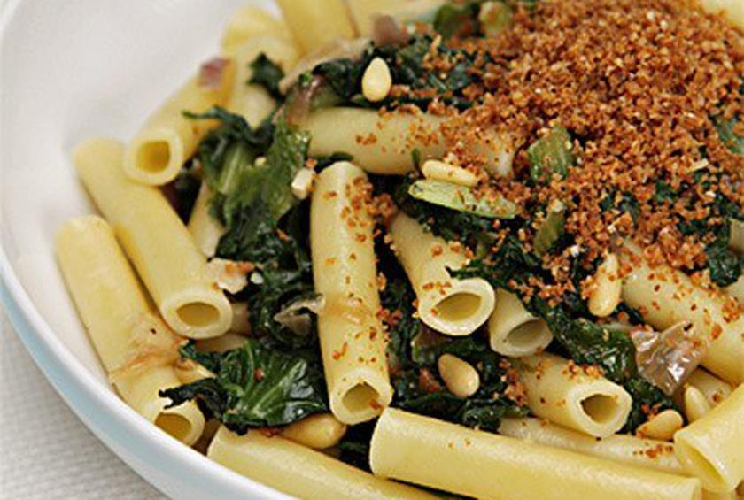Ziti with Spicy Chicory and Parmesan Breadcrumbs