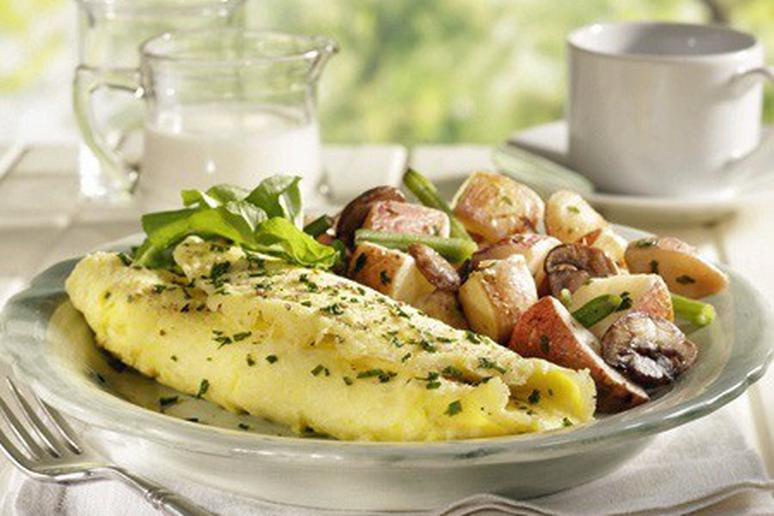 Perfect Omelette with Watercress and Roasted Mushrooms