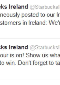 The Starbucks Ireland Twitter account made a gaffe to its followers.