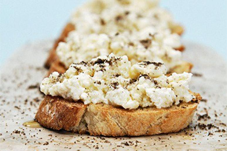 Crostini with Ricotta, Truffle Honey, and Smoked Salts