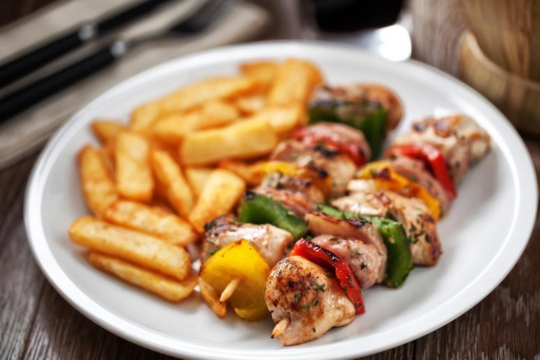 Grilled Chicken Kebabs and Potatoes