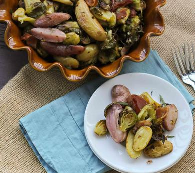 Beer Roasted Potatoes with Brussel Sprouts and Bacon