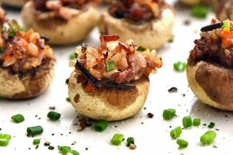 Pine Nut Stuffed Mushrooms