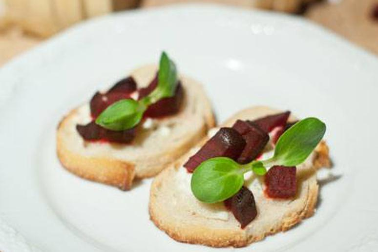 Beet and Goat Cheese Crostini