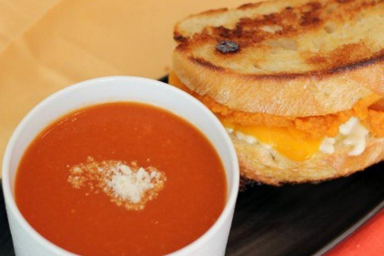 Creamy Tomato Soup With Cheddar Pumpkin Grilled Cheese Sandwich