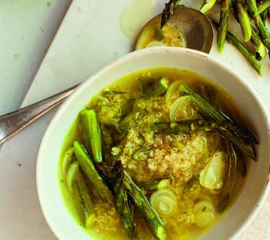 Spring Onion and Quinoa Soup with Roasted Asparagus