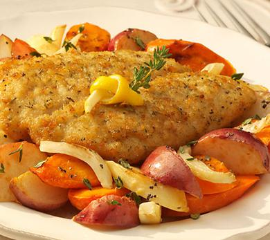 Family-Style Seasoned Cod and Roasted Vegetables