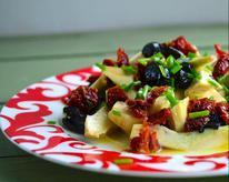 Raw Artichoke, Cured Olive, and Sun-Dried Tomato Salad