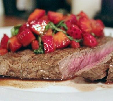 Steak with Strawberry-Balsamic Salsa