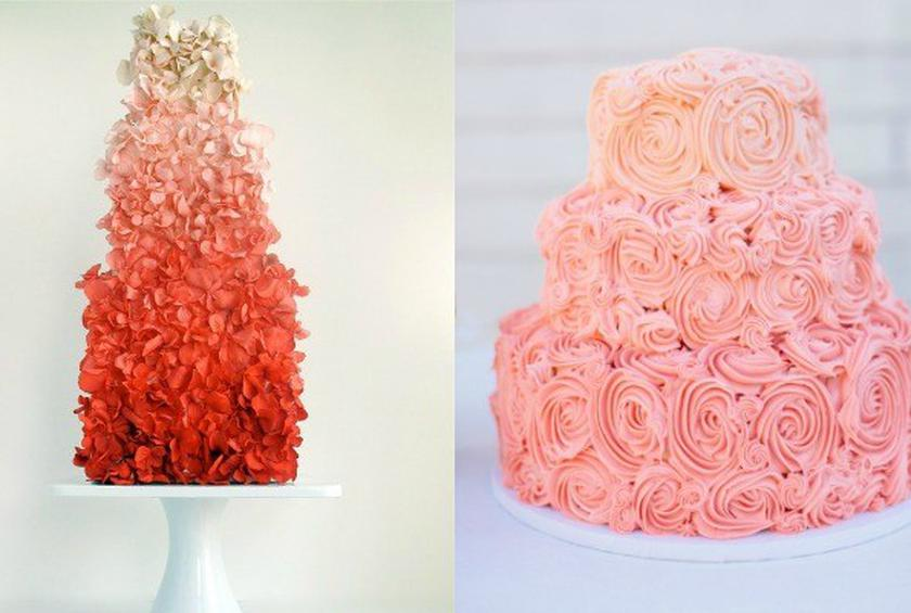 Wedding cake of the day pink ombr flower wedding cake ombr rose wedding cake mightylinksfo