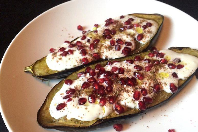 Eggplant with Buttermilk Sauce and Pomegranates