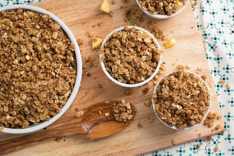 Apple Crumble With Bacon Salted Carmel