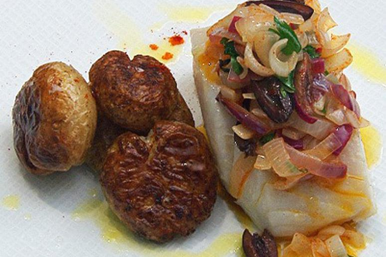 Olive Oil-Poached Bacalhau and Golden Potatoes with Spring Onions and Olives