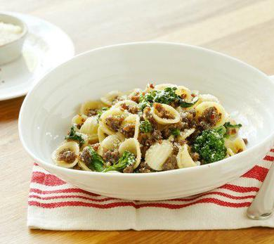 Orecchiette Pasta with Ground Lamb, Broccolini, and Pecorino