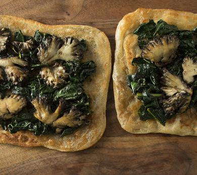 Sautéed Mushrooms on Flatbread with Braised Greens