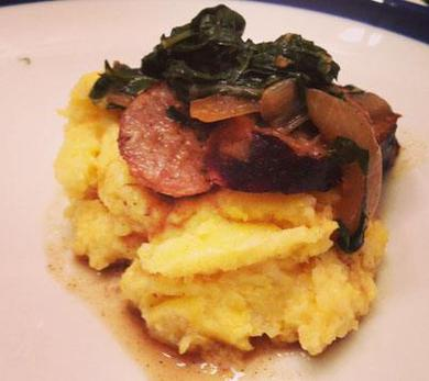 Swiss Chard and Sausage with Polenta