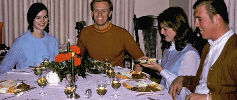 Dinner in 1960s, dinner at home, 1968, family dinner, retro dinner
