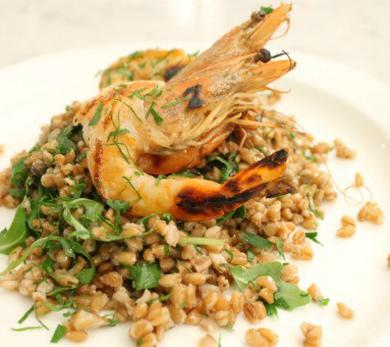 Summer Farro Salad with Grilled Prawns