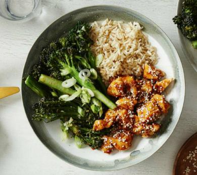 Sticky Sesame Chicken with Broccolini and Brown Rice