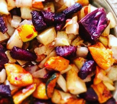roasted squash and root vegetables