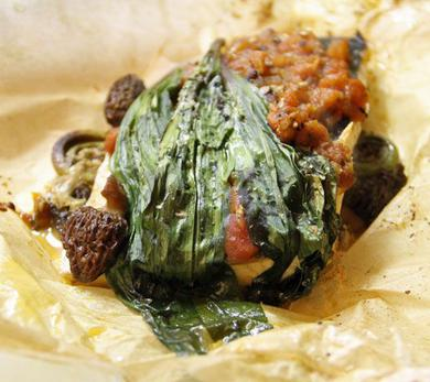 Fish en Papillote with Mushroom Duxelles and Tomato Concassé