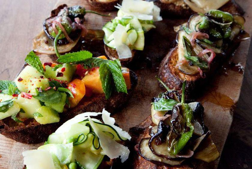 Eggplant and Charred Pepper Bruschetta