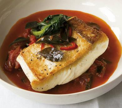 Halibut With Mustard Seeds, Curry Leaves, and Tomatoes
