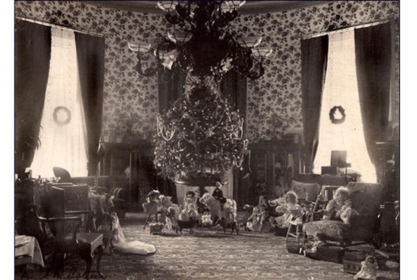 1895 First White House Tree With Christmas Lights