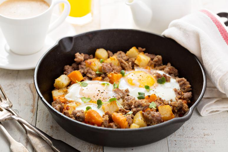 Sunny Side-Up Skillet With Spring Vegetable Hash