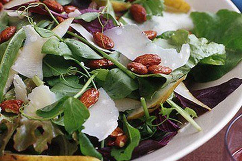 Baby Greens with Pears, Nuts, and Parmesan