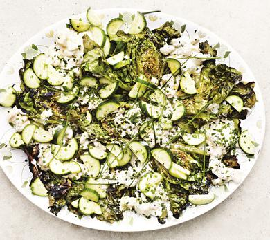 Barbecued Little Gems With Cucumber, White Beans, and Tahini