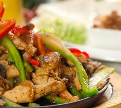 Grilled chicken makes the perfect fajitas