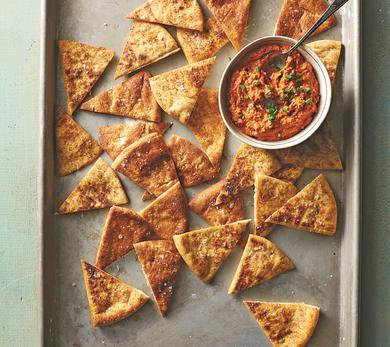 Homemade Pita Chips With Red Pepper Dip