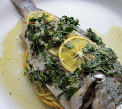 Striped Bass with Meyer Lemon Chimichurri