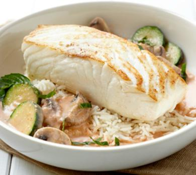 pan-seared alaska halibut with red curry